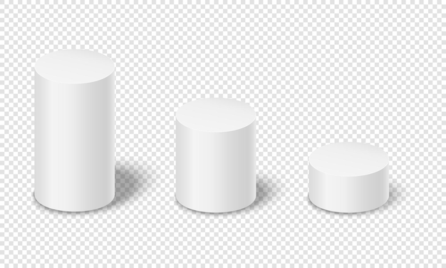 White cylinders with shadows 3d geometric shapes product podiums empty platforms