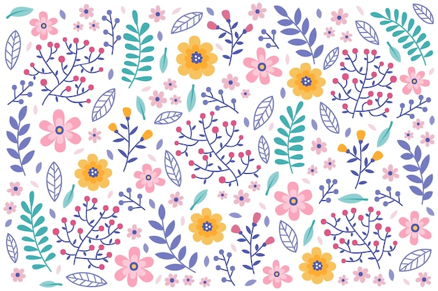 White daisies seamless pattern white background