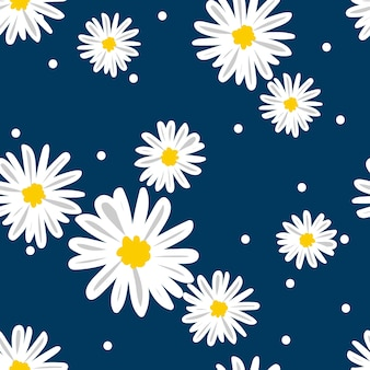 White daisies seamless vector pattern on a blue background