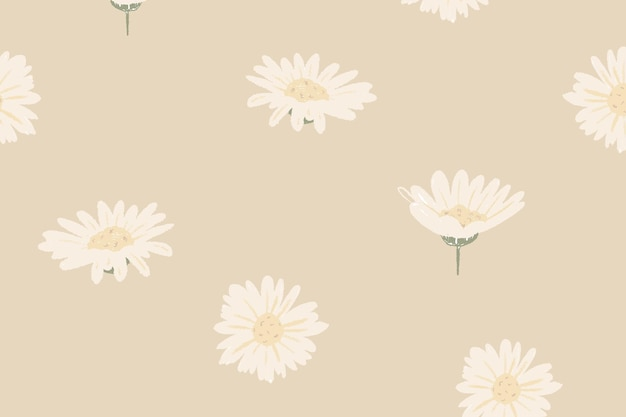 White daisy floral pattern vector on beige background