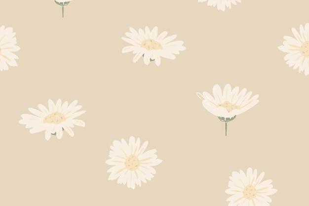 베이지색 배경에 흰색 데이지 꽃 패턴 벡터