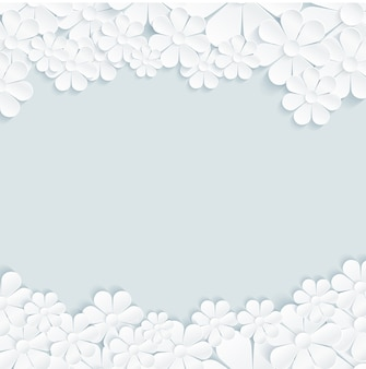 White daisy flowers pattern on gray background