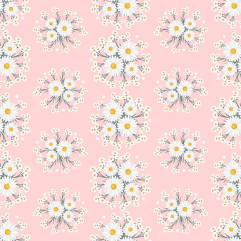 White daisy flowers wreath ivy style with branch and leaves, seamless pattern