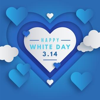 Giorno bianco nell'illustrazione in stile carta con cuore