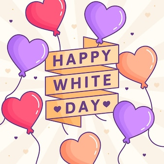 White day in illustration with heart balloons