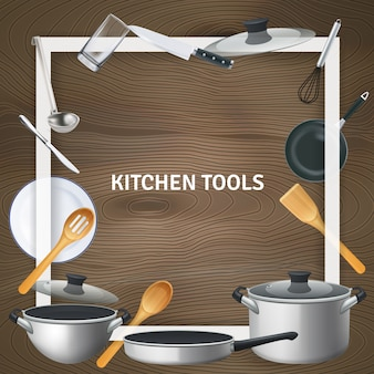 White decorative square frame with realistic kitchen tools on wooden texture illustration