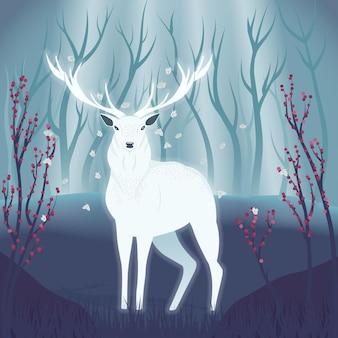 森の中の白い鹿自然の中で美しい野生のクワガタのカラフルなイラストの肖像画