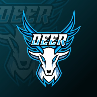 White deer mascot gaming logo for team squad game