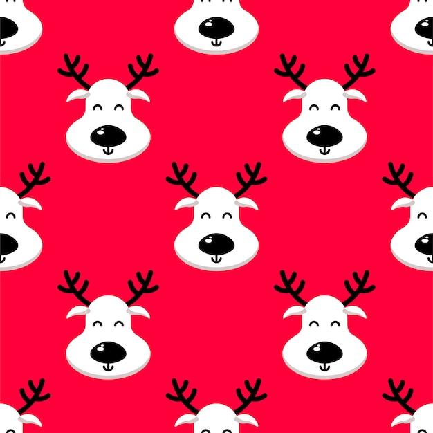赤の背景に白い鹿のシームレスなパターン。明けましておめでとう、クリスマス、休日のテクスチャ
