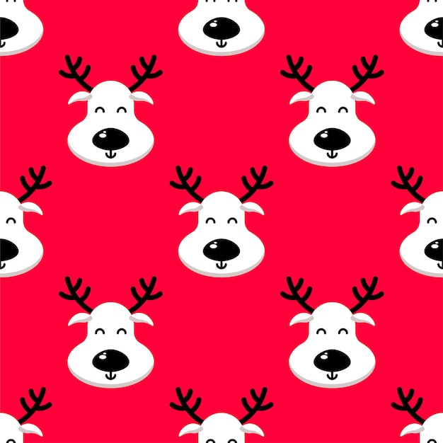 White deer seamless pattern on red background.   happy new year, christmas, holidays texture