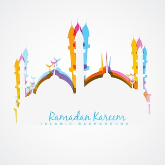 White design for ramadan kareem with colorful mosque