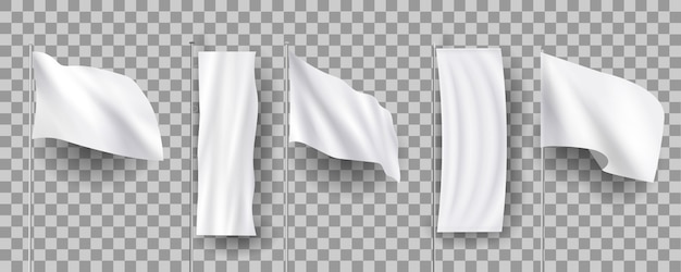 White different blank feather flags, empty banners stand, 3d realistic  s