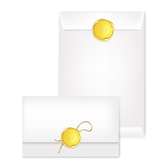 White different mail envelope with a gold stamp. illustration of the wax luxury seal