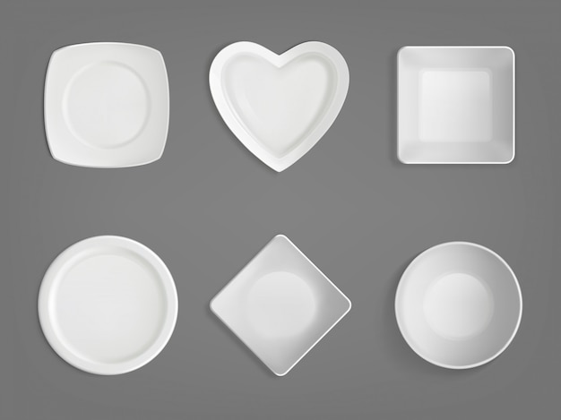 White different shapes bowls