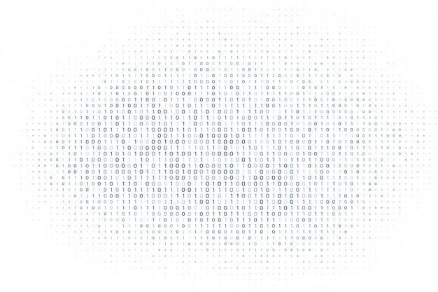バイナリコード番号の背景の白いデジタルマトリックス