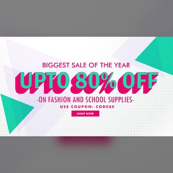 White discount voucher with polygonal shapes