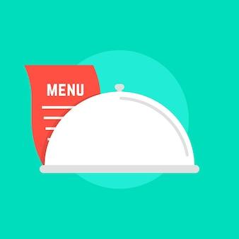 メニューと白い皿のアイコン。メンテナンスケータリング、使用人、食堂、お祝い、サービング、フードデリバリーのコンセプト。緑の背景に分離。フラットスタイルトレンドモダンなロゴデザインベクトルイラスト