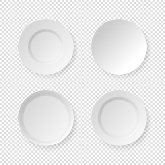透明な背景に設定された白い皿プレート
