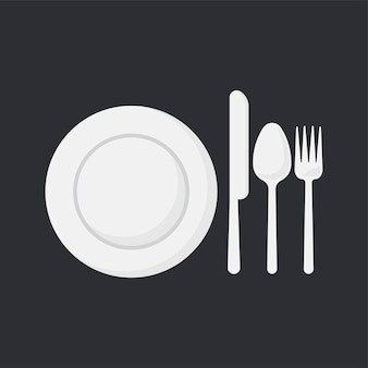 White dish and utensils set vector illustration