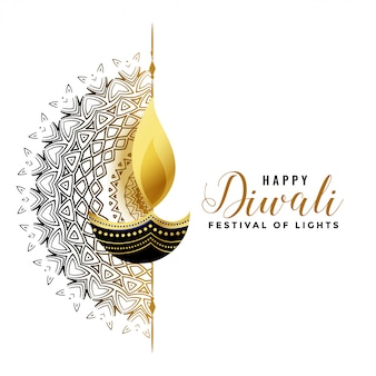 White diwali background with golden diya