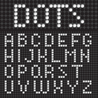 White dots  font alphabet