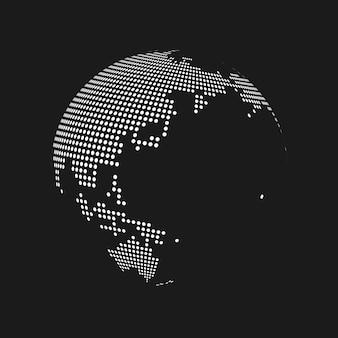 黒の背景に白い点線の3d地球世界地図地球儀。ベクトルイラスト。