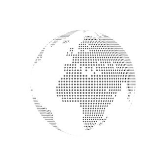 White dotted globe glass transparent vector illustration