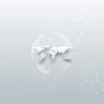 White dotted world globe