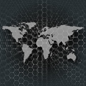 White dotted world map, connecting lines and dots on black color background