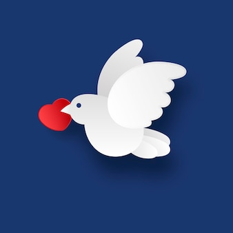 White dove on a blue background in the style of the paper. vector illustration
