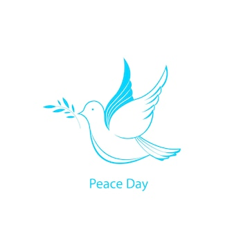 올리브 가지와 흰색 비둘기입니다. 국가 평화의 날.