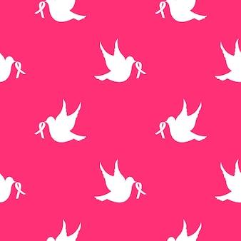 Белый голубь с лентой бесшовные модели. национальный месяц осведомленности о раке груди.