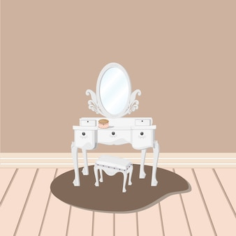 거울과 의자 벡터와 흰색 화장대