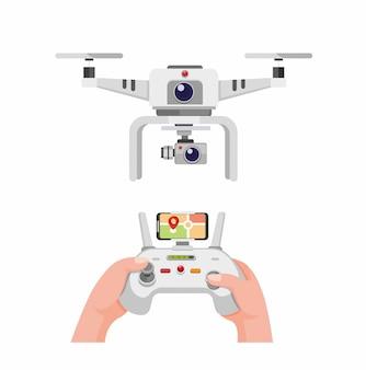 デュアルカメラを搭載した白いドローン。白い背景で分離された場所の漫画イラストを監視するスマートフォンの画面でリモートコントロールドローンを持っている手