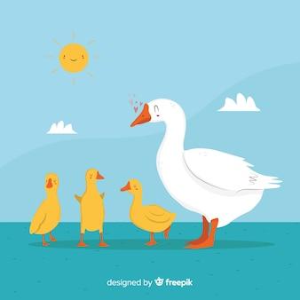 Белая утка и желтые милые утята снаружи
