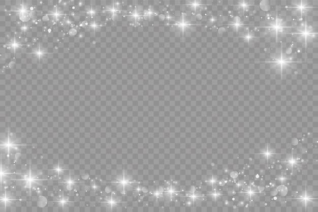 하얀 먼지가 반짝이며 별이 특별한 빛, 반짝이는 조명 효과로 빛납니다.