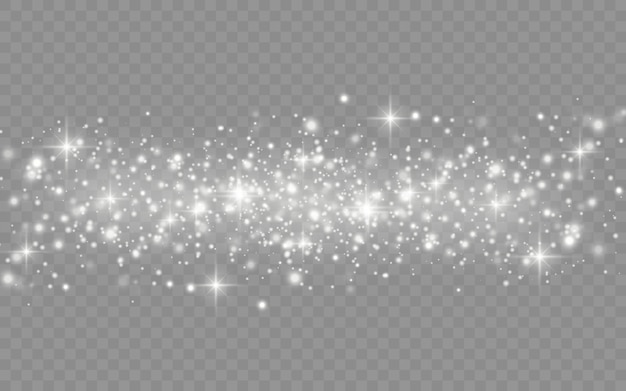 The white dust sparks and star shine with special light, christmas sparkl light effect, sparkle, shine lights, sparkling magic dust particles isolated on transparent background.