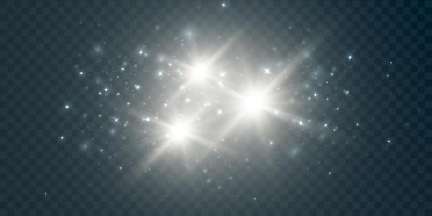 Всплеск белой пыли на прозрачном фоне с бликами и яркими звездами световой эффект для вектора i
