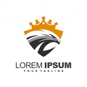 White eagle crown logo design