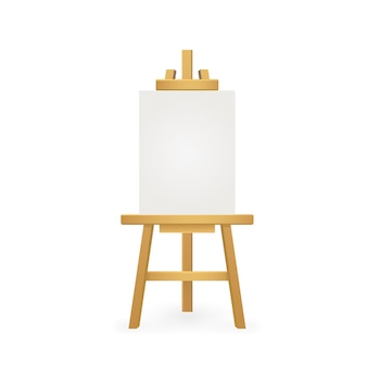 White easel on white background. watercolor mockup on black backdrop. brush painting. vector paint.