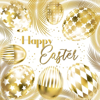 White easter banner with golden eggs and palm