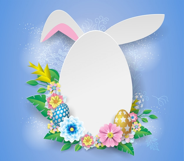 White easter   frame with paper flower on blue background