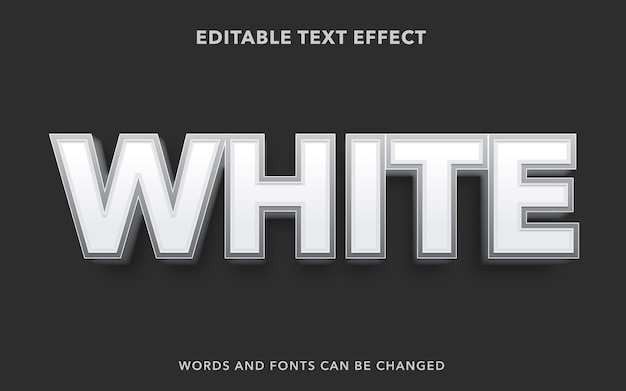 White editable text effect style