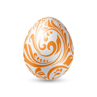 White egg with floral pattern artistic texture