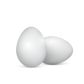 Белые яйца на белом фоне. здоровая пища. пасхальный. иллюстрация