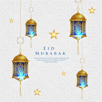 White eid mubarak background ornament with the gold traditional lantern
