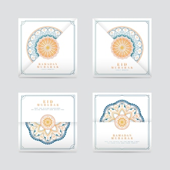 White eid mubarak card set
