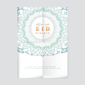 White eid mubarak flyer