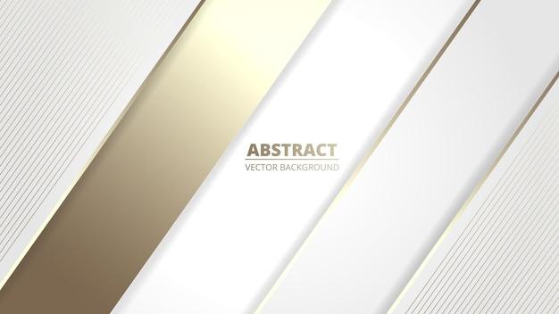 Белый элегантный реалистичный роскошный дизайн фона с золотыми линиями и тенями