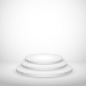 연단과 흰색 빈 배경